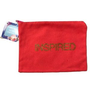 "2 for $15 ""Inspired"" Canvas Cosmetic Bag NWT"